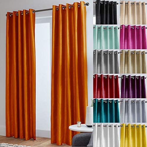 "John Aird Faux Silk Fully Lined Eyelet Curtains (Orange, 168cm Width x 183cm Drop (66""x72"") from John Aird"