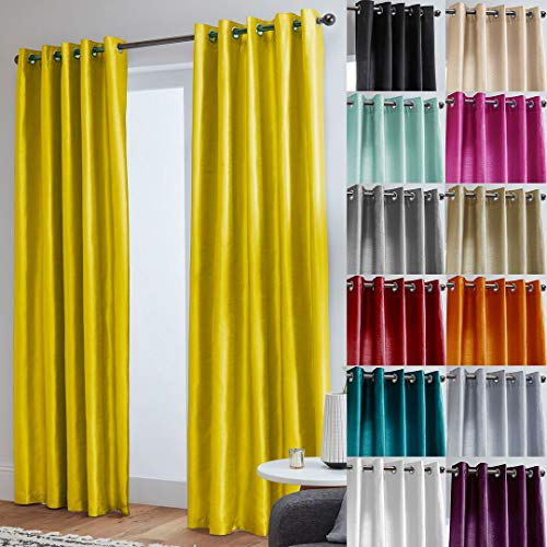 "John Aird Faux Silk Fully Lined Eyelet Curtains (Yellow, 229cm Width x 274cm Drop (90""x 108"") from John Aird"