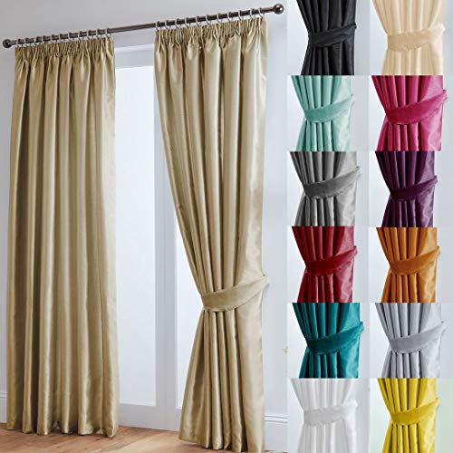 "John Aird Faux Silk Fully Lined Pencil Pleat Curtains With Matching Tie Backs (Latte, 229cm Width x 229cm Drop (90""x 90"") from John Aird"