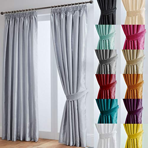 "John Aird Faux Silk Fully Lined Pencil Pleat Curtains With Matching Tie Backs (Silver, 117cm Width x 137cm Drop (46""x 54"") from John Aird"