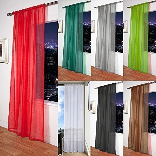 "John Aird Mosul - Muslin/Linen Slot Top Voile Curtain Panel (Red, 56""x54"") from John Aird"