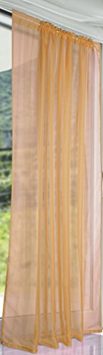 "Pair Of John Aird Woven Voile Slotted Curtain Panels. Finished in Latte (58"" Wide x 90"" Drop) from John Aird"