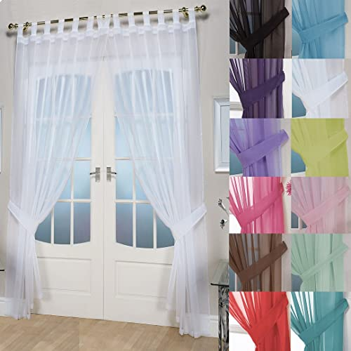 "John Aird Pair Of Woven Voile Tab Top Curtain Panels. Free Tiebacks Included (White, 58"" Wide x 54"" Drop) from John Aird"