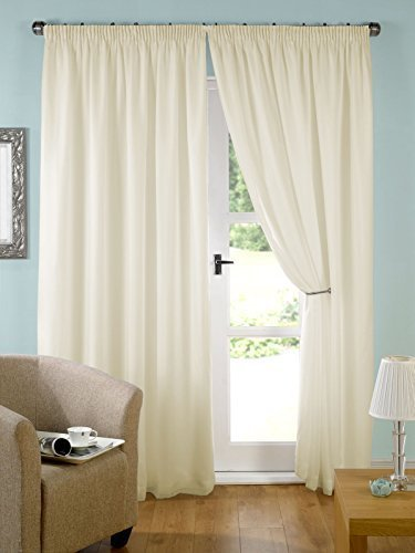 "John Aird Pair Cream Lined Tape Top Voile Curtains (90"" wide x 72"" drop) from John Aird"