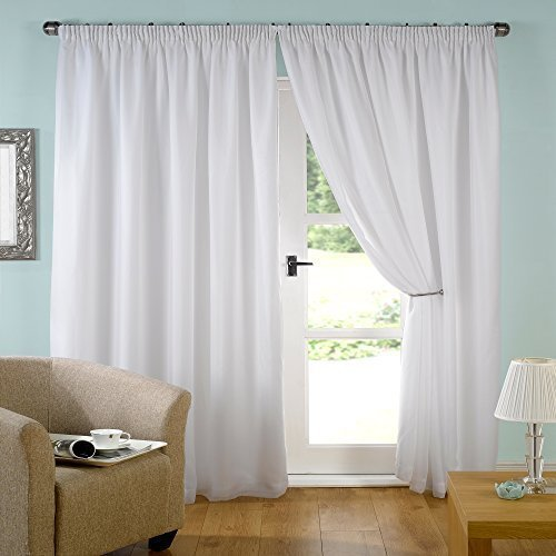 "John Aird Pair White Lined Tape Top Voile Curtains (65"" wide x 72"" drop) from John Aird"