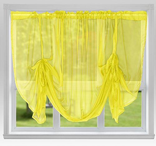 "John Aird Voile Tie Blind Curtain Panels 87"" Wide x 54"" Drop (Yellow) from John Aird"