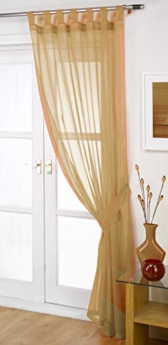 "John Aird Woven Voile Tab Top Curtain Panels - Free Tieback Included (Latte, 60"" Wide x 90"" Drop) from John Aird"