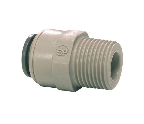 John Guest Straight Adaptor 3/8 inch Tube OD x 1/4 inch NPTF Male Thread (one individual) from John Guest