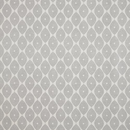"Grey Geometric Ovals PVC Vinyl Oilcloth Wipe Clean Tablecloth 140cm x 250cm (55"" x 99"") from Jolee Tablecloths"