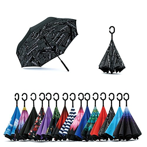 Jooayou Double Layer Inverted Umbrella, C Shape Handle Reverse Folding Umbrella, Anti-UV Windproof Travel Umbrella with Carrying Bag from Jooayou