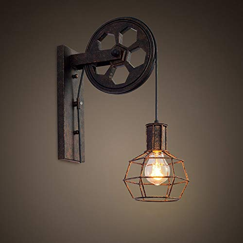 Loft Industrial Retro Wall Lamp Single Head Lifting Pulley Light Fixture from Jorunhe