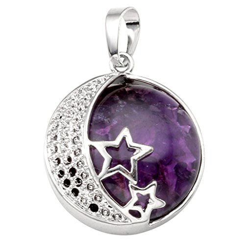 Jovivi Natural Amethyst Crystal Gemstone Pendant Moon and Star Healing Chakra Necklace Jewellery for Women from Jovivi