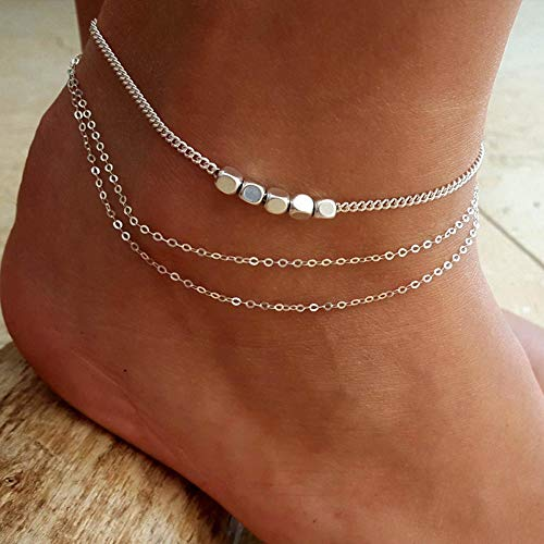Jovono Multi-layer Anklet Beach Foot Jewelry with Square Anklet for Women and Girls (Silver) from Jovono