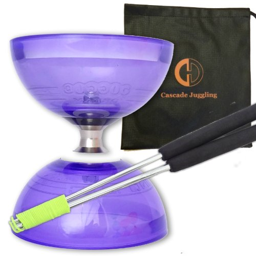 Purple Cyclone Quartz II Triple Bearing Diabolo with Aluminium 'Metal' Sticks and Carry Bag - Pro Clutch Diablo Set from Juggle Dream