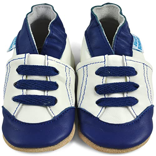 Juicy Bumbles Beautiful Soft Leather Baby Shoes Suede Soles - Toddler Shoes - Infant Shoes - Pre Walker Shoes - Crib Shoes - White and Blue Trainers - 0-6 Months from Juicy Bumbles