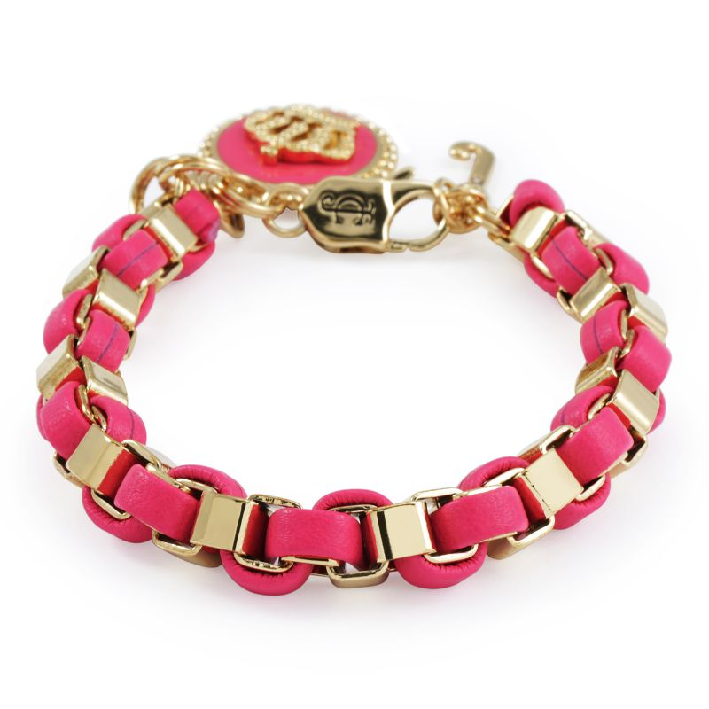 Ladies Juicy Couture PVD Gold plated Box Chain Leather Bracelet With Coin from Juicy Couture Jewellery