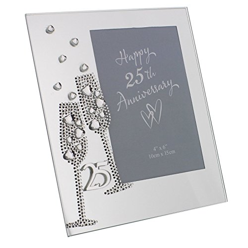 "Diamante Champagne Glasses Silver 25th Wedding Anniversary Glass Photo Frame 7.5"" x 6.5"" WG45425 from Juliana"