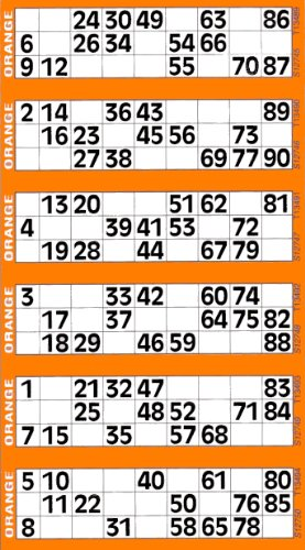 Jumbo Bingo Tickets pads 6 to view (Orange) from JUMBO