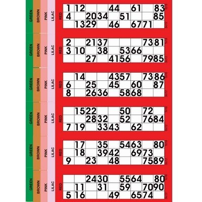 Jumbo Bingo Tickets pads 6 to view (Red) from JUMBO