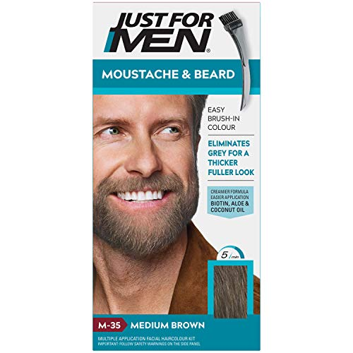 Just For Men M35 Moustache and Beard Facial Hair Color Medium Brown from Just for Men