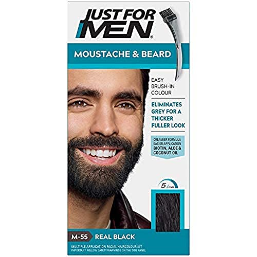 Just for men Moustache & Beard Real Black Dye , Eliminates Grey for a Thicker & Fuller Look – M55 from Just for men