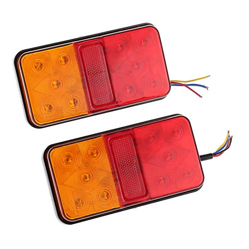 Justech 2 x Rear Brake Lights Tail Stop Lights Indicator Lamp Waterproof 12V Universal for Trailer Camper Van Truck Lorry Tractor from Justech