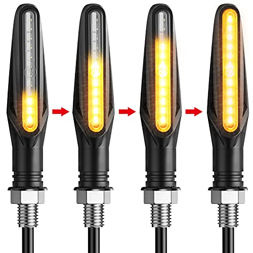 Justech 4PCS Motorcycle Indicators Flowing Flashing Motorbike Turning Indicators Waterproof 12V 12 LEDS Bulbs Universal Turn Signal Lights from Justech