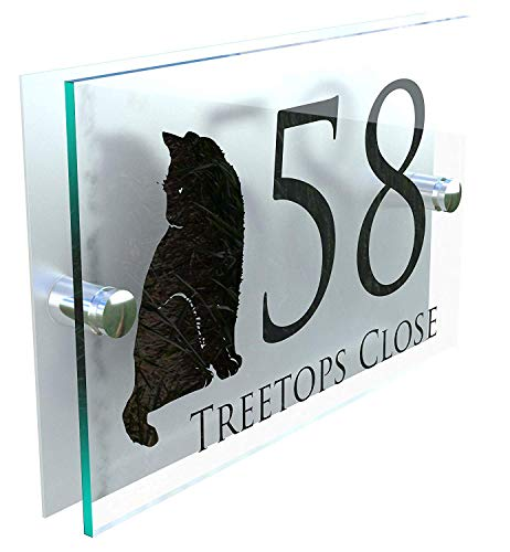 MODERN DECORATIVE CAT HOUSE SIGN PLAQUE DOOR NUMBER CATS STREET GLASS EFFECT KITTENS ACRYLIC ALUMINIUM NAME KITTEN DECA5-28B-S-C-C1 from K Smart Sign