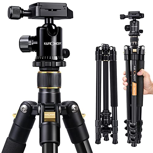 "Camera Tripod,K&F Concept 62"" Compact Light Aluminium Tripod with Quick Release Plate, Ball Head and Carrying Bag for Travel for DSLR Canon Nikon Sony Camera-Golden from K&F Concept"
