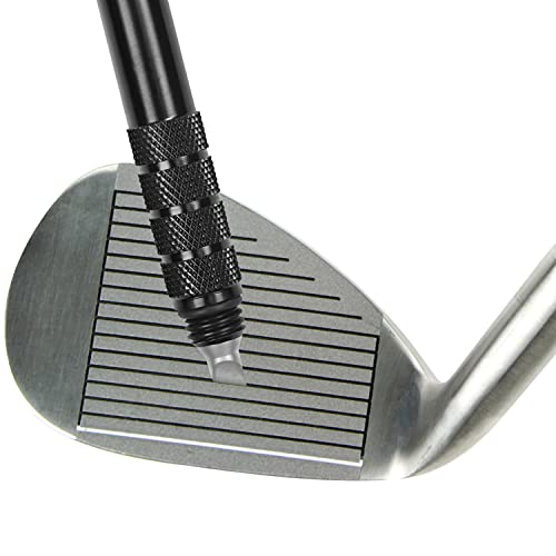 K&V GOLF Black Golf Club Groove Sharpener Regrooving Tool/Cleaner for Wedges/Golf Balls - Filed Edges Sharpens Grooves - Improve Back Spin and Ball Control - Groove Cleaner Solution Kit from K&V GOLF