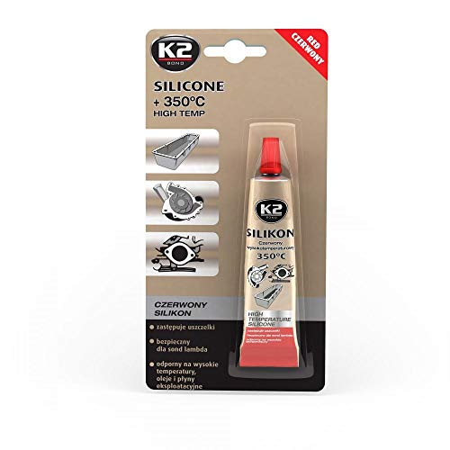 2 Pack | K2 Red High-temp Silicone +660° F (+350° C) Sealing Glass Windows Sunroofs Door Frames Plastics Fabrics Concrete Electrical Connections Engine & Driving Components Radiators Pumps Hoses from K2 Car