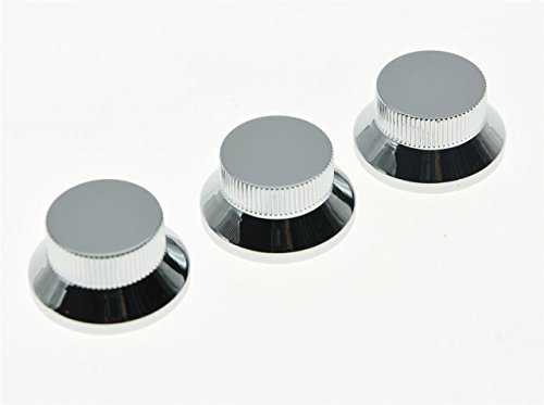 KAISH 3pcs Chrome Metal Bell Knobs Push On ST Strat Guitar Top Hat Knob for 5.8mm Split Shafts from KAISH