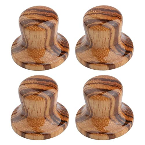 KAISH 4-Pack Wood Knobs Bell Knobs Guitar Bass Top Hat Wood Knobs For Metric Pots Zebra Wood from KAISH