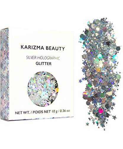 KARIZMA Silver Holographic Chunky Glitter BEAUTY ✮ 10g Festival Glitter Face Body Hair Cosmetic from KARIZMA
