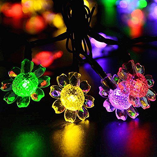 Solar Powered Sunflower String Lights, KEEDA 21 ft 50 Sunflower LED Christmas Light Waterproof solar fairy String Lights for Outdoor, Gardens, Homes, Wedding, Christmas Decoration from KEEDA