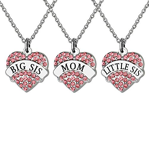 3 PCS BIG SIS MOM LIL SIS Heart Shape Pendant Rhinestone Necklace For Sister Mother Mother's Day Birthday Gifts from KENYG