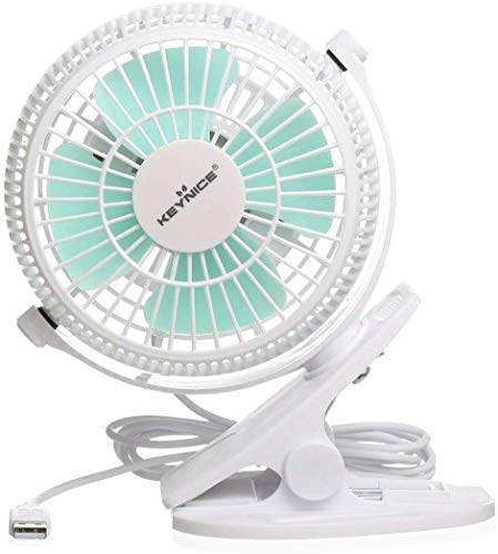 Keynice Mini USB Clip and Desk Personal Fan, Quiet Operation, Desk Fan, Desk Fans, mini fan, table fan,4 Inch 2 Speed Portable Cooling Fan USB Powered by NetBook, Computer MacBook, Power Bank, and PC, 360° up and down ,for Home Office - White from KEYNICE