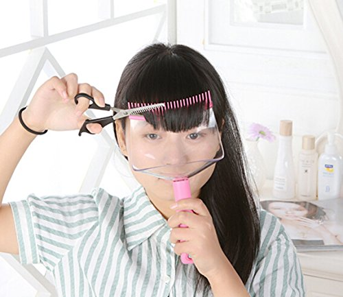 Hair Fringe Trimming Thinning Cutting Holder with Clear Protector Shield (Scissors Not Included) - Japan Hot Sale!!! (Pink) from KIKAR