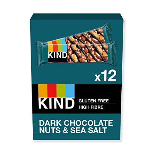 KIND Dark Chocolate Nuts & Sea Salt - Natural Protein - Healthy Snack Bar- Best Snack - 12x 40g bar from KIND