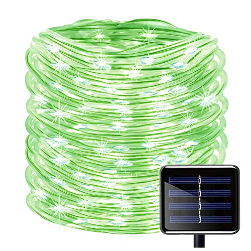 KINGCOO 100 LEDs Solar Rope String Lights, Waterproof 39ft/12M Copper Wire Outdoor Tube Fairy String Lights for Christmas Garden Yard Path Fence Tree Backyard (Green) from KINGCOO