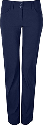 "Womens Smart Stretch Trousers With 2 Front Buttons, Ideal for Work, Inside Leg 31"" (20, Navy) from KK Fashion Lines"