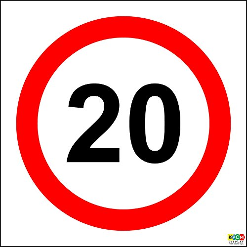 20 mph speed limit signs - 1.2mm rigid plastic 300mm x 300mm from KPCM Display