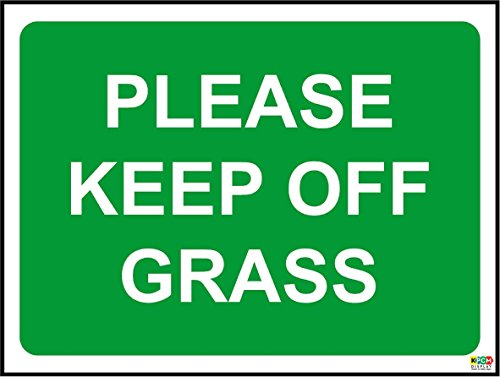 20cmx15cm Keep Off Grass sign (1.2mm Plastic Sign) from KPCM Display