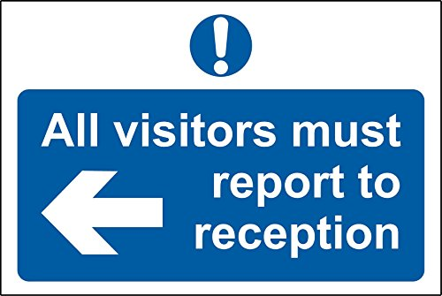 All visitors must report to reception safety sign - Self adhesive sticker 300mm x 200mm from KPCM Display