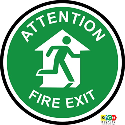 Attention Fire exit floor marker floor marker. Ideal for highlighting potential hazards where traditional signs are not effective Self adhesive vinyl 400mm x 400mm from KPCM Display