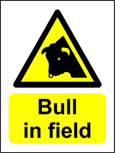Bull In Field sign (1.2mm Plastic Sign) 200mmx150mm from KPCM Display