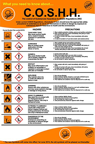 COSHH REGULATIONS POSTER SIGN, 400mm x 600mm mm, high quality 1mm rigid PVC from KPCM Display