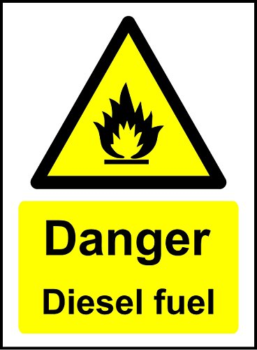 Danger Diesel Fuel Safety Sign - Self adhesive sticker 200mm x 150mm from KPCM Display