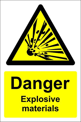 Danger Explosive Materials Safety Sign - 1.2mm Rigid plastic 200mm x 150mm from KPCM Display