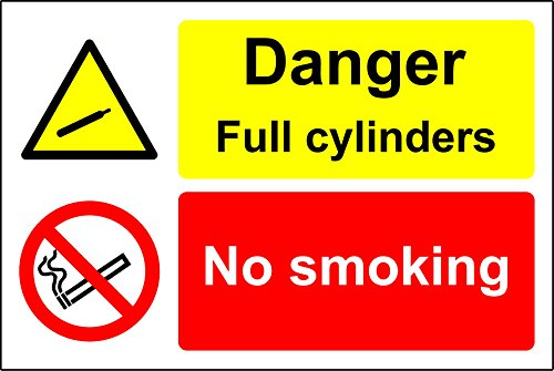 Danger Full Cylinders No Smoking Safety Sign - 1.2mm Rigid plastic 300mm x 200mm from KPCM Display